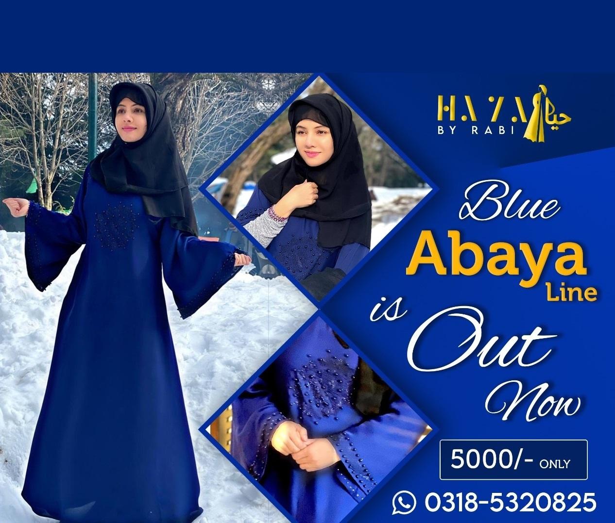 Haya-By-Rabi Abaya Blue Line