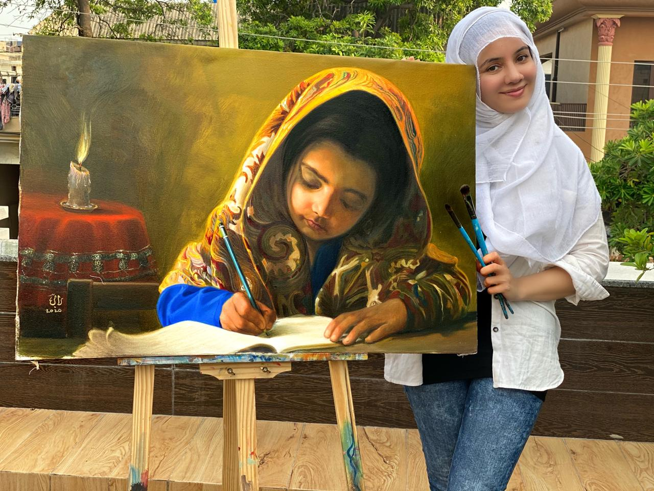 Little Girl Writing (Oil Painting) by Rabi Pirzada_42x36