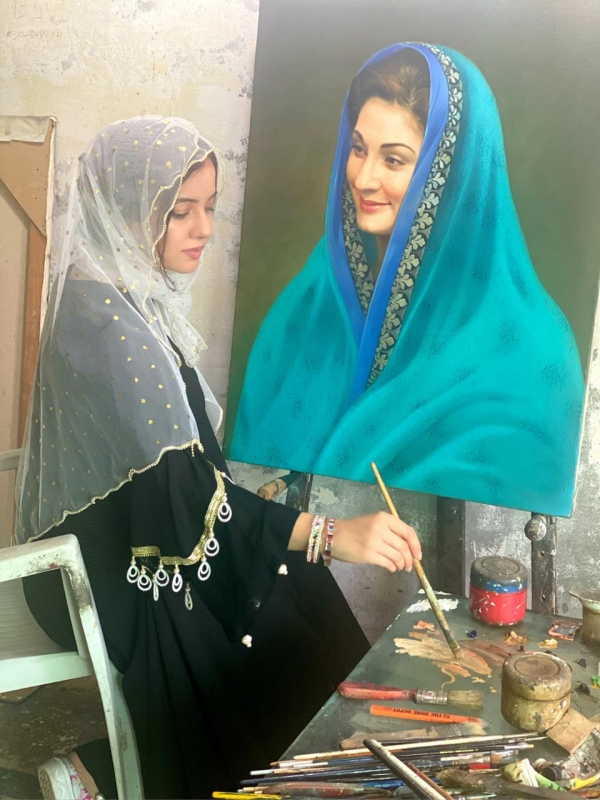 Maryam Nawaz Portrait Painting by Rabi Pirzada