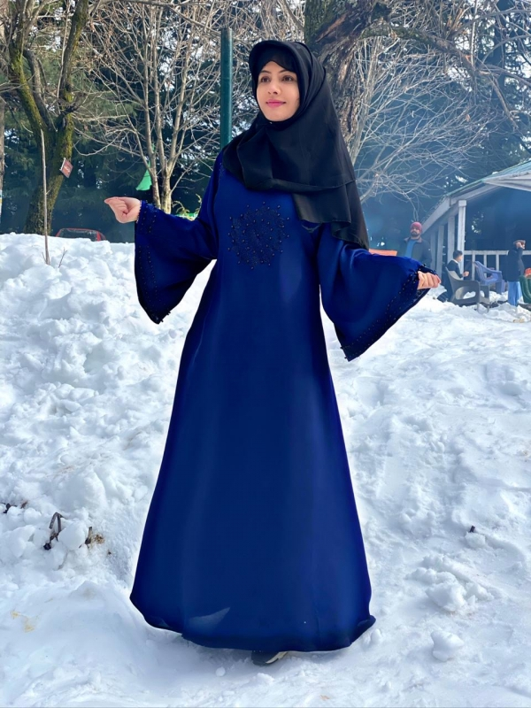 Blue Embroidered Abaya Haya By Rabi
