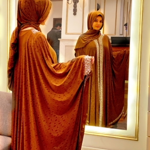 Brown Embroidered Abaya Haya By Rabi 1