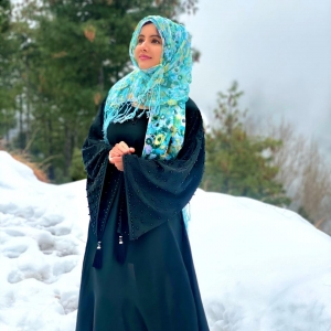 Green Embroidered Abaya - Haya By Rabi