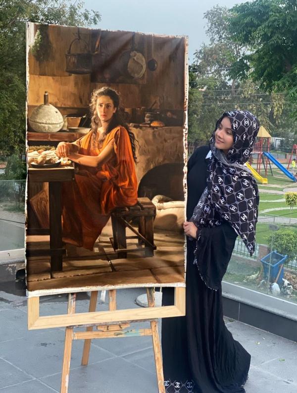 beautiful village girl painting